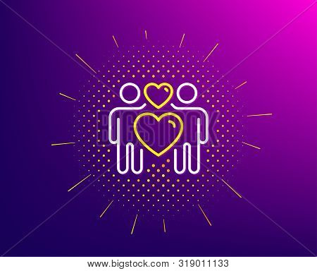 Love Couple Line Icon. Halftone Pattern. Heart Lovers Sign. Valentine Day Symbol. Gradient Backgroun
