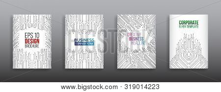 Technology Modern Brochure Templates. Science And Innovation Hi-tech Background. Flyer Design Of Tec