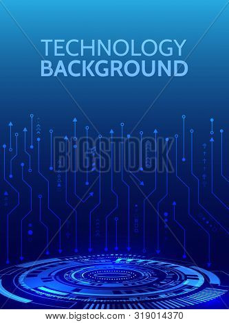 High-tech Futuristic Background With Various Technology Elements. Circuit Board Vector Illustration.