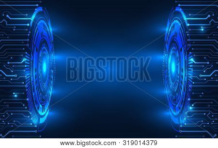 Abstract Blue Background With Various Technology Elements. Hi-tech Communication Concept. Connection