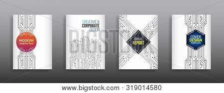 Technology Communication Element For Brochure. Circuit Board Background For Magazine Cover. Futurist