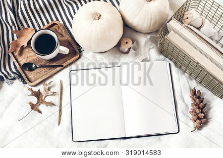 Autumn Breakfast In Bed Composition. Blank Open Notepad, Diary Mockup. Cup Of Coffee, White Pumpkins