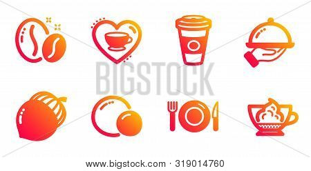 Peas, Love Coffee And Food Line Icons Set. Acorn, Takeaway Coffee And Restaurant Food Signs. Espress