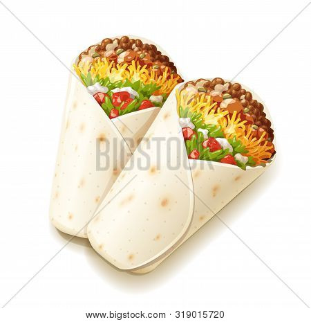 Burrito. Mexican National Traditional Food. Burritos With Cheese, Tomato, Stuffing, Tortilla. Isolat
