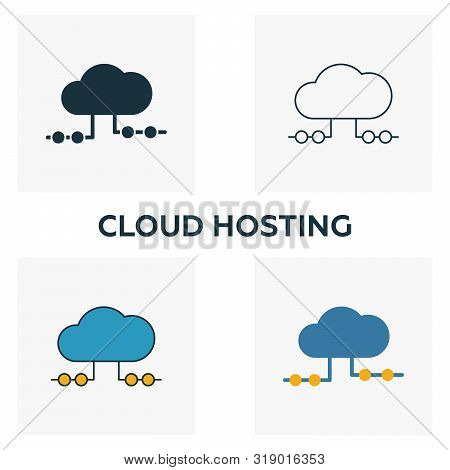 Cloud Hosting Icon Set. Four Elements In Diferent Styles From Big Data Icons Collection. Creative Cl