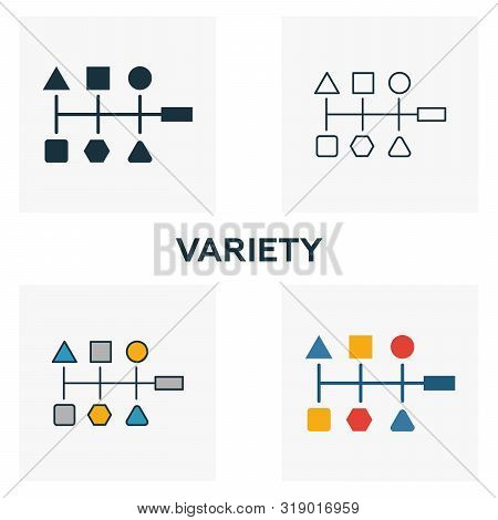Variety Icon Set. Four Elements In Diferent Styles From Big Data Icons Collection. Creative Variety