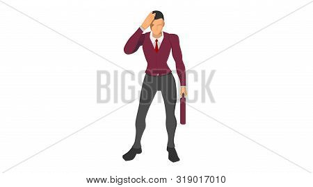 Characters Wearing Suits Stand Holding Their Heads. Body Gestures Indicate Discrepancies, Errors And