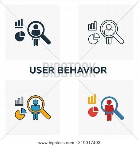 User Behavior Icon Set. Four Elements In Diferent Styles From Big Data Icons Collection. Creative Us