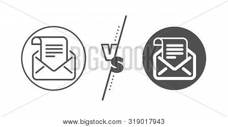 Read Message Correspondence Sign. Versus Concept. Mail Newsletter Line Icon. E-mail Symbol. Line Vs