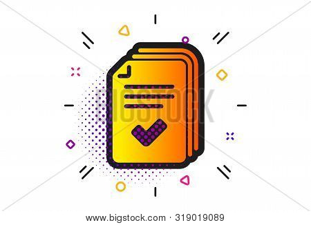 Documents Example Sign. Halftone Circles Pattern. Handout Icon. Classic Flat Handout Icon. Vector