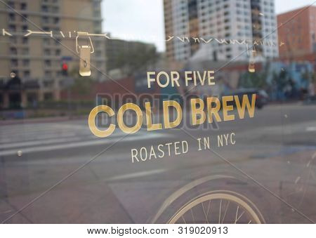 LOS ANGELES - SEPT 2, 2018: For Five Cold Brew, opened in 2018 in partnership with Convene to bring New Yorks own specialty coffee out West.