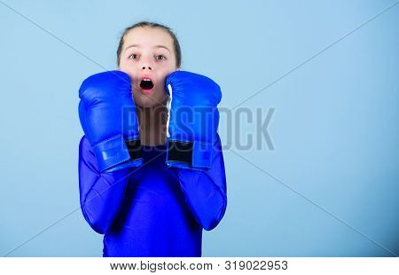 With Great Power Comes Great Responsibility. Boxer Child In Boxing Gloves. Female Boxer Change Attit