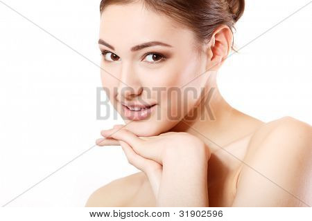 portrait of young beautiful woman smiling and hoolding hand near her face. isolated on white background.