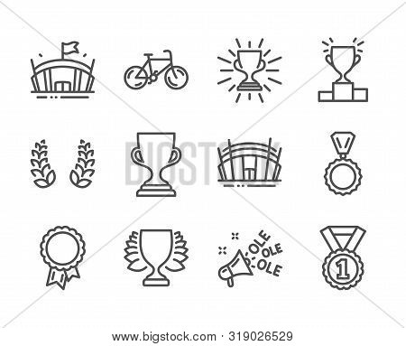 Set Of Sports Icons, Such As Arena Stadium, Award Cup, Arena, Best Rank, Bicycle, Winner Podium, Win