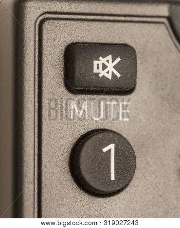 Mute Botton,closeup Of Mute Botton Remote Control, Mute Icon
