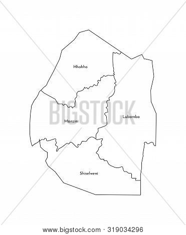 Vector Isolated Illustration Of Simplified Administrative Map Of Eswatini (swaziland). Borders And N