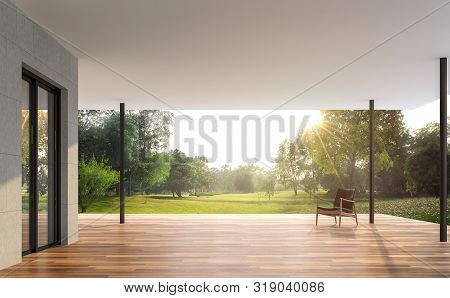 Empty Contemporary Terrace With Garden View 3d Render, There Are Wooden Floor And Concrete Tile Wall