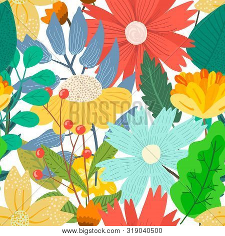 Cute Bright Light Floral Seamless Pattern With Mess Of Hand Drawn Flowers And Leaves On White Backgr