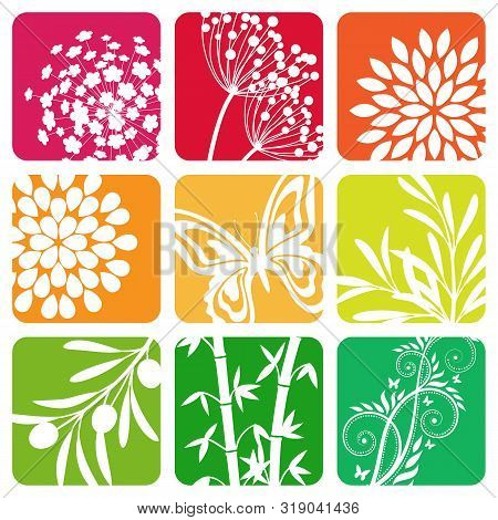 Set Of Vector Colored Nature And Floral Icons