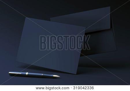 Black Envelope On Dark Background. Premium Envelope Mock Up. A6 Envelope With Blank Invitation Card.
