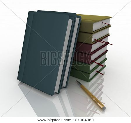 notebooks and pen on a white background