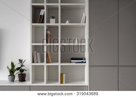 Stylish Modern Interior With White Walls With Shelves