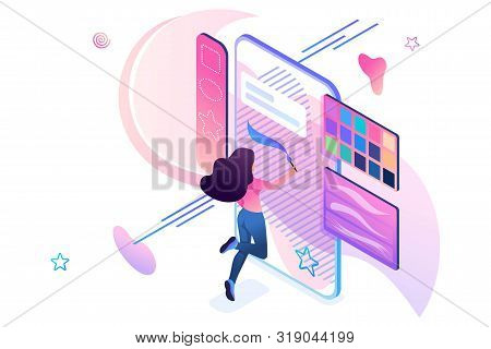 Young Girl Is Engaged In Creativity, Draws On The Smartphone Screen Using A Software Application. Cr