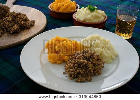 Burns Supper, Haggis With Neeps And Tatties And A Wee Dram Of Scotch Whisky