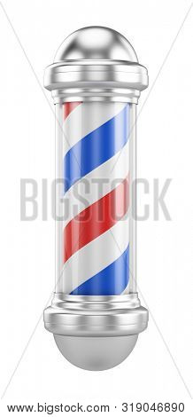 Classic Barber Shop Pole isolated on a white background - Barbershop concept. 3d rendering