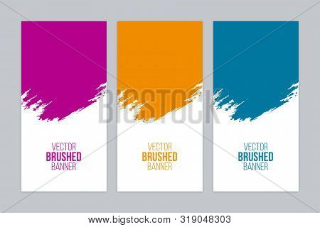Minimal Banners With Colorful Brush Strokes. Vector Banner Set.