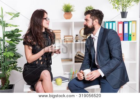 Expert Meeting. Sensual Woman And Bearded Man Meeting For Teacup During Working Break. Company Manag
