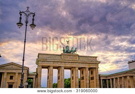 The Brandenburg Gate Located In Pariser Platz In The City Of Berlin, Germany.