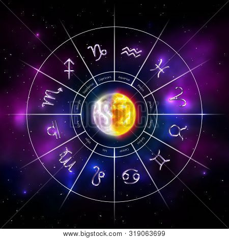 Horoscope Circle With Twelve Zodiac Signs. Silver Metal Zodiac Symbols On Blurred Cosmic Background.