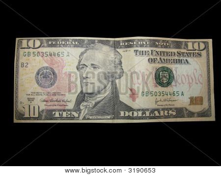 Us Currency Ten Dollar Bill On Black