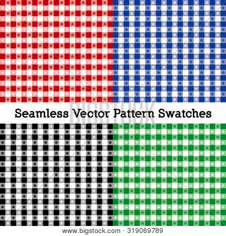 Tablecloth Check Patterns, Vector File Includes Four Swatches That Seamlessly Fill Any Shape, Red, B