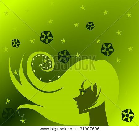 A beautiful green woman inspired by the Emerald. poster