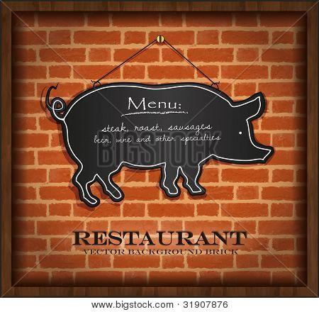 vector blackboard pig menu card brick wall background