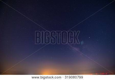 Beautiful Nightscape With A Part Of The Milky Way, Mazzarino, Caltanissetta, Sicily, Italy, Europe