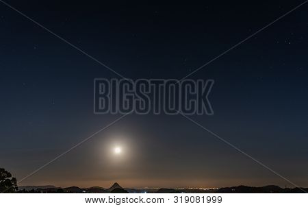 Beautiful Nightscape With The Full Moon, Mazzarino, Caltanissetta, Sicily, Italy, Europe