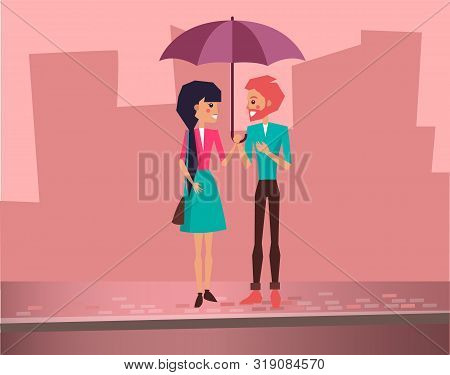Cute Lovely Couple On Dating Holding Colorfull Umbrella On City Street Vector Illustration. People F