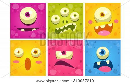 Cute Monster Faces Set, Funny Colorful Square Mutant Emojis With Different Emotions Vector Illustrat