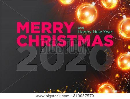 Christmas 2020 Vector Background Design. Happy New Year 2020 Luxury Greeting Card. Elegant Festive X