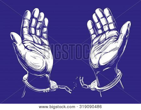 Hands Break The Chain Handcuffs, A Symbol Of Freedom And Forgiveness Icon Hand Drawn Vector Illustra