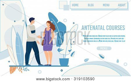Flat Landing Page Promoting Antenatal Courses. Male Teacher, Greeting, Trainer Welcoming Pregnant Wo