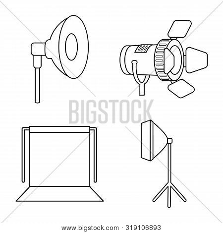Isolated Object Of Photography And Equipment Icon. Collection Of Photography And Accessories Vector
