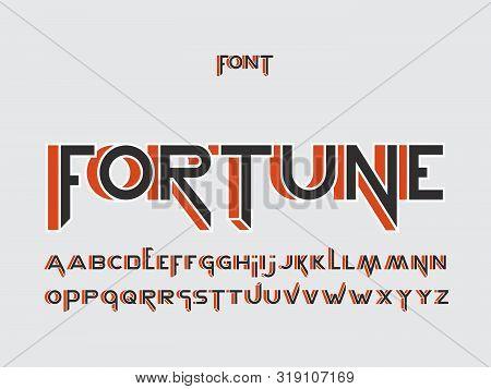 Fortune 3d Font. Vector Alphabet Letters. Typeface Design. Typography Graphic