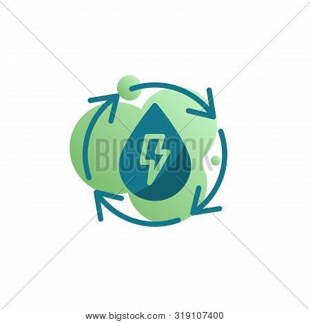 Water cycle energy icon vector, Ecology water cycle filled flat sign, bicolor pictogram, green colors. Symbol, logo illustration poster