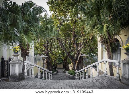 Calcada Do Carmo Portuguese Colonial Style Alley In Old Taipa Area Of Macau China