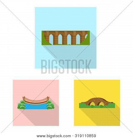 Vector Illustration Of Bridgework And Bridge Logo. Set Of Bridgework And Landmark Stock Symbol For W