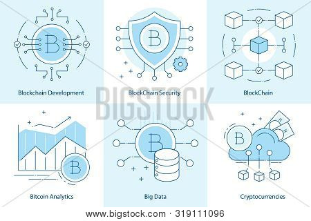 Cryptocurrency And Blockchain Development Concept. Online Payments, Bitcoin Technologies. Flat Line